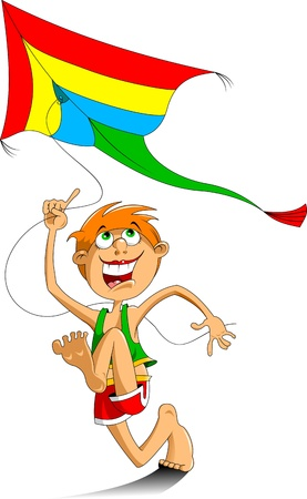 aloft: happy boy running with a kite   Illustration
