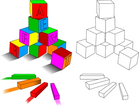 kindergarten toys: set of colored blocks and crayons