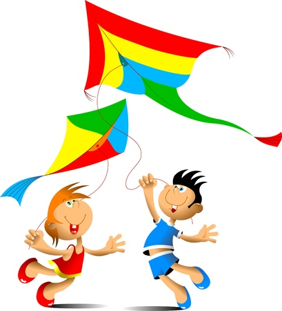 and windy: happy boy and girl running with a kite