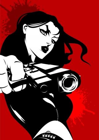mujer con pistola: mujer vestida de negro, con una pistola en la mano