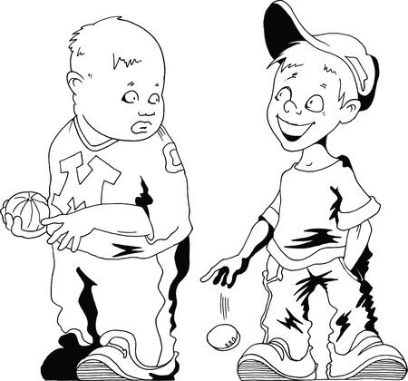 Two boys with a baseball  vector illustration ;  Vector