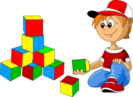 play blocks: little boy playing with multicolored cubes  vector illustration ;  Illustration