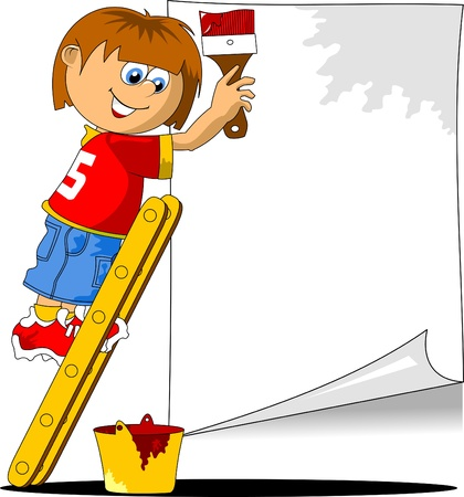 painting and decorating: young decorator writes ad in red  vector illustration ;