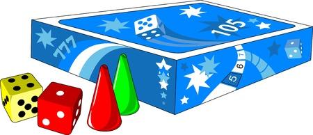 brettspiel: Brettspiel, W�rfeln und Chips auf einem wei�en Hintergrund Illustration