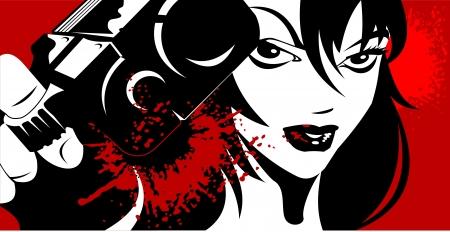 hooligan: Frau in Schwarz mit einer Pistole in der Hand vektorabbildung gekleidet;