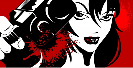 gangster with gun: mujer vestida de negro, con una pistola en la mano ilustraci�n vectorial;