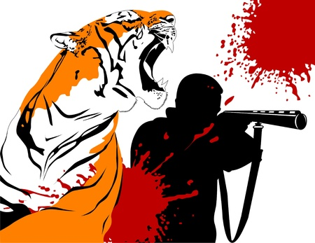 Wounded tiger against a hunter with a gun  = Vector