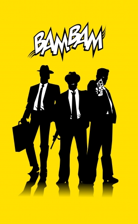 Three men in black suits with a weapon Vector