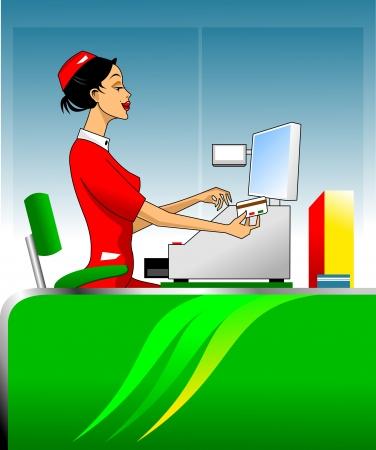 shop assistant: female cashier conduct credit card through a cash register Illustration