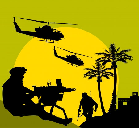 kalashnikov: soldier goes on a night reconnaissance in the desert