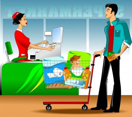 mujer en el supermercado: cuestiones de una buena factura del vendedor para la compra de un joven