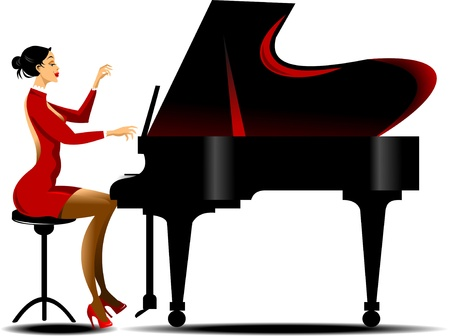 hands on keyboard: girl in a red dress playing piano black Illustration
