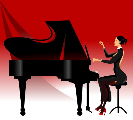pianist: piano black on a red background  Illustration