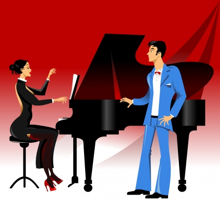 opera singer performing an aria piano accompaniment Vector