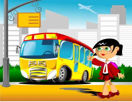 Schoolgirl comes to a school bus stop illustration Vector