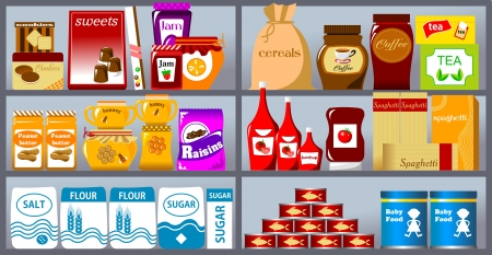 Various products on store shelves vector illustration Çizim