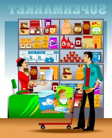 cassa supermercato: giovane uomo porta un carrello della spesa alla cassa Vettoriali