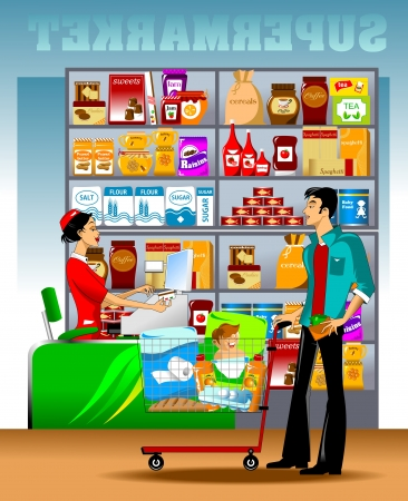 product cart: young man carries a shopping cart to the checkout Illustration