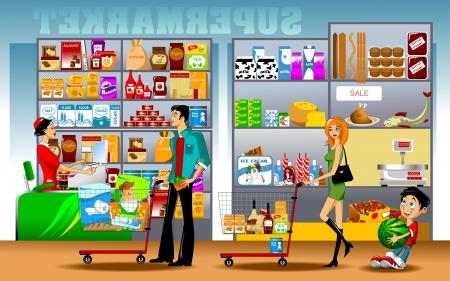 人、女性および店のレジで並んで立っている男の子  イラスト・ベクター素材