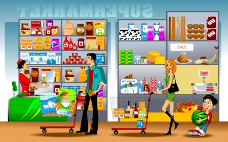 jams: man, a woman and a little boy standing in line at the cash register in the store Illustration
