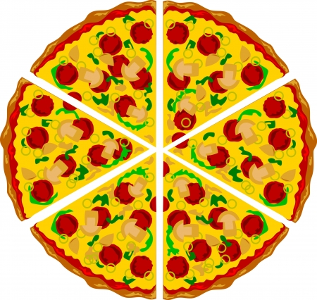 onion slice: Pizza triangle shape with mushrooms cheese and several ingredients on it  Airbrush illustration