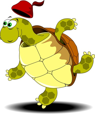 tortoise: green turtle is involved in running races  A vector illustration