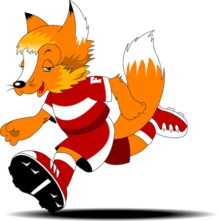 creeping: red fox is involved in running races  A vector illustration