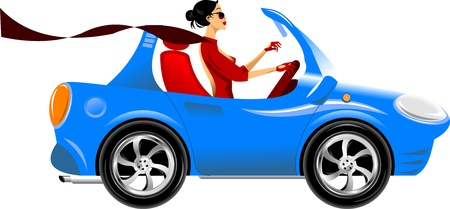 beautiful woman driving a blue car  vector illustration Çizim