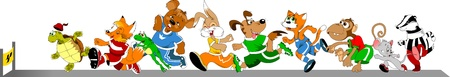 badger: competition group of animals on the treadmill, vector illustration