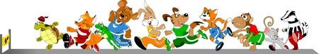 maratón: Soutěž skupina zvířat na běžeckém pásu, vektorové ilustrace