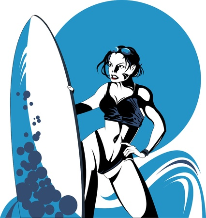 girl in a black bikini with a surfboard vector;  Vector