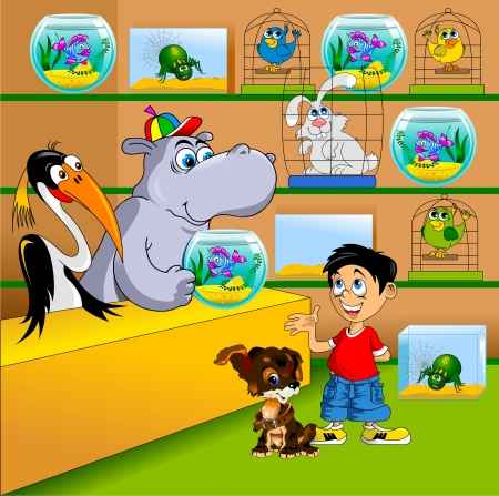 pet shop: boy with a dog in a pet store aquarium choose, vector Illustration