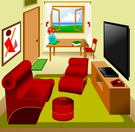 living room design: main saloon in the apartment; furnished, vector