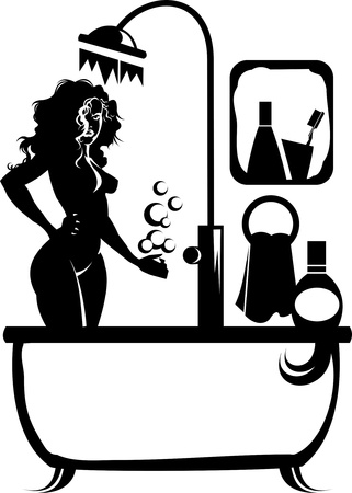 beautiful girl takes a bath in the bathroom Vector