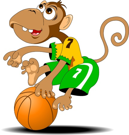 little monkey with basketball attacking basket Vector