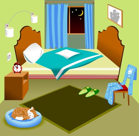 Interior of a bedroom with a bed and a window the night, illustration Stock Vector - 19259553