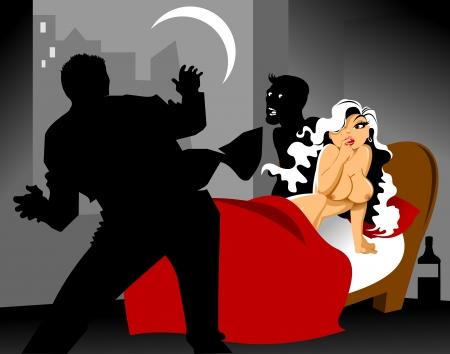 celos: Pareja joven se ve atrapado al hacer el amor en la cama, vector