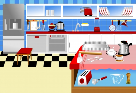 pepper grinder: Kitchen interior with blue tiles and kitchen tools