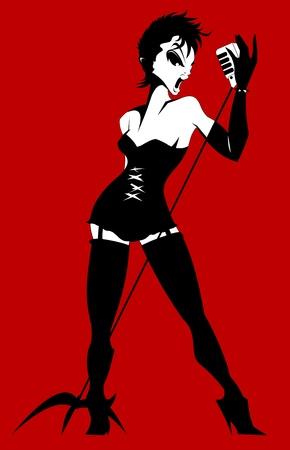 robe noire: belle chanteuse dans une robe noire sur fond rouge, vecteur Illustration