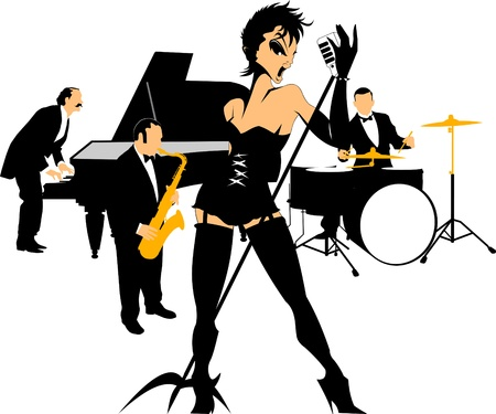 Vector drawing music jazz orchestra  Artists on stage Vector