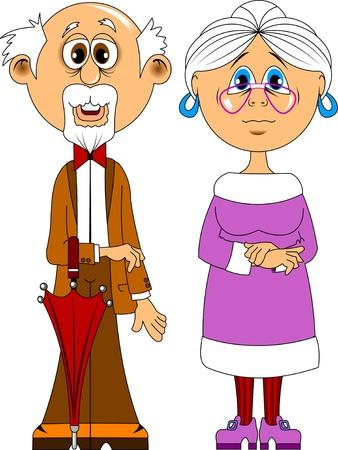 opa en oma met een paraplu in glazen, illustratie