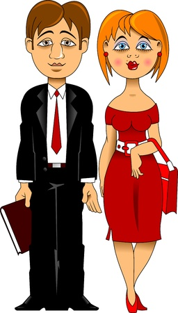 active life: man in a black suit and a woman in a red dress Illustration