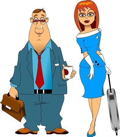 azafata de vuelo: piloto con un vaso de caf� y una azafata con una maleta
