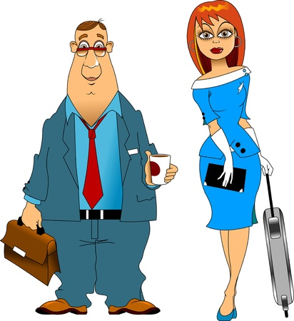 pilot with a glass of coffee and a stewardess with a suitcase Vector