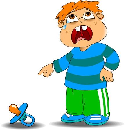 niño llorando: niño llorando en el suéter azul debido a una caída chupetes, ilustración