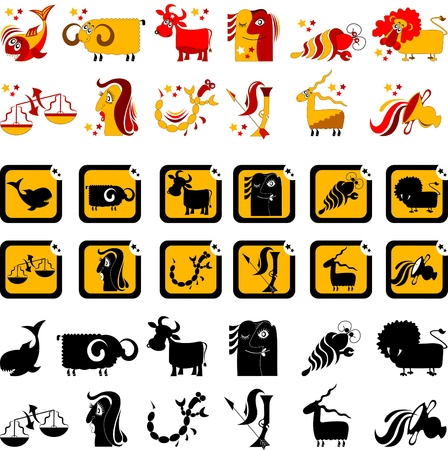 hilarious horoscope sign of the zodiac, illustration, vector Vector