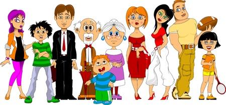 große, glückliche Familie für einen Familienurlaub gesammelt Vektorgrafik