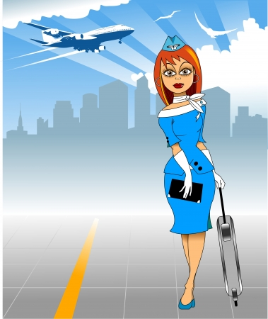 stewardess: stewardess in a blue suit and white tie is landing