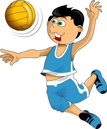 volley: illustration of a young volleyball player jumping with the ball;