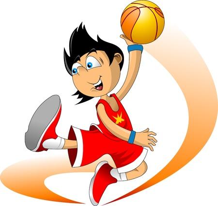 basket: Illustrazioni a colori giocatore di pallacanestro lancia la palla nel canestro